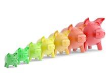 Porcellino salvadanaio Colourful in una fila Fotografia Stock Libera da Diritti
