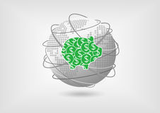 Porcellino salvadanaio come concetto per il risparmio globale illustrazione vettoriale