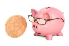 Porcellino salvadanaio con bitcoin, rappresentazione 3D Fotografia Stock Libera da Diritti
