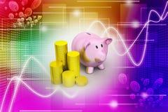 Porcellino salvadanaio con delle monete di oro Immagine Stock