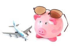 Porcellino salvadanaio con gli occhiali da sole e l'aereo del giocattolo Fotografie Stock