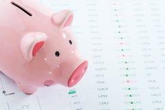 Porcellino salvadanaio con i dati di riserva, concetto di investimento Fotografie Stock