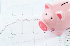 Porcellino salvadanaio con i dati di riserva, concetto di investimento Fotografia Stock