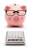 Porcellino salvadanaio con i vetri ed il concetto di contabilità del calcolatore Immagini Stock