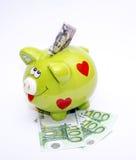 Porcellino salvadanaio con il dollaro e l'euro Fotografia Stock Libera da Diritti