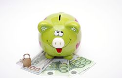 Porcellino salvadanaio con il dollaro e l'euro Fotografie Stock Libere da Diritti