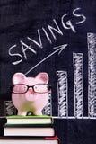 Porcellino salvadanaio con il grafico di risparmio Fotografia Stock