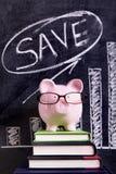 Porcellino salvadanaio con il grafico di risparmio Immagini Stock