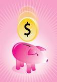 Porcellino salvadanaio con il manifesto della moneta Royalty Illustrazione gratis