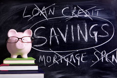 Porcellino salvadanaio con il messaggio di risparmio Immagini Stock Libere da Diritti