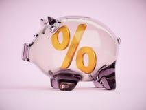 Porcellino salvadanaio con il segno di percentuale dentro l'illustrazione 3d Fotografia Stock Libera da Diritti