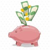 Porcellino salvadanaio con l'illustrazione di vettore dei soldi Fotografia Stock Libera da Diritti
