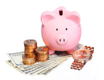 Porcellino salvadanaio con l'orologio di oro e dei soldi  Fotografia Stock Libera da Diritti