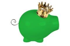Porcellino salvadanaio con la corona Immagine Stock Libera da Diritti