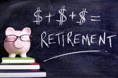 Porcellino salvadanaio con la formula di pensionamento Immagine Stock Libera da Diritti