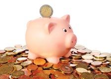 Porcellino salvadanaio con la moneta dell'euro 2 in un'area dalle euro monete Immagine Stock Libera da Diritti