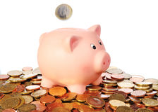 Porcellino salvadanaio con la moneta euro di caduta in un'area dalle euro monete Fotografia Stock