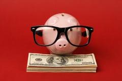 Porcellino salvadanaio con la montatura per occhiali nera dei vetri che stanno sulla pila di banconote in dollari dell'americano  Fotografia Stock