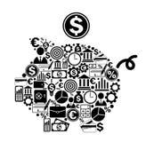 Porcellino salvadanaio con le icone di finanza e dei soldi Immagine Stock