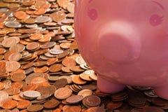 Porcellino salvadanaio con le monete Fotografie Stock Libere da Diritti
