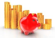 Porcellino salvadanaio con le pile di monete rappresentazione 3d Fotografie Stock Libere da Diritti