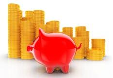 Porcellino salvadanaio con le pile di monete rappresentazione 3d Immagini Stock Libere da Diritti