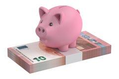porcellino salvadanaio 3D e 10 euro pacchetti Immagine Stock