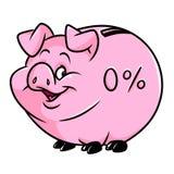 Porcellino salvadanaio del maiale fumetto dei soldi di accumulazione di zero per cento Immagine Stock Libera da Diritti