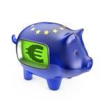Porcellino salvadanaio dell'euro dell'affissione a cristalli liquidi Fotografie Stock Libere da Diritti