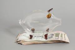 Porcellino salvadanaio di vetro con le banconote indiane della rupia di valuta immagini stock libere da diritti
