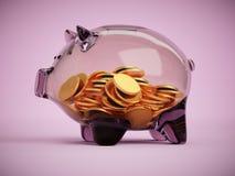 Porcellino salvadanaio di vetro trasparente in pieno dell'illustrazione di concetto 3d delle monete Immagine Stock Libera da Diritti