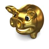Porcellino salvadanaio dorato Fotografie Stock