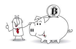 Porcellino salvadanaio e bitcoin Fotografia Stock Libera da Diritti