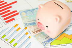 Porcellino salvadanaio e euro sui grafici di affari Immagini Stock Libere da Diritti