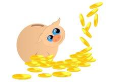 Porcellino salvadanaio e monete Fotografia Stock