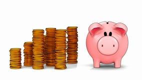 Porcellino salvadanaio e pile crescenti di monete nello stile di ombreggiatura del cel illustrazione di stock