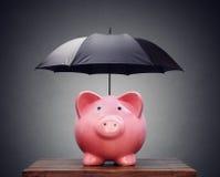 Porcellino salvadanaio finanziario di protezione o di assicurazione con l'ombrello Immagini Stock Libere da Diritti