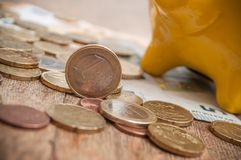 Porcellino salvadanaio giallo sulle euro monete e banconote sul wo Immagini Stock Libere da Diritti