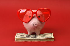 Porcellino salvadanaio nell'amore con gli occhiali da sole rossi del cuore che stanno sulla pila di banconote in dollari dell'ame Fotografia Stock