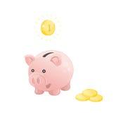 Porcellino salvadanaio rosa con le monete Immagini Stock