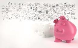 Porcellino salvadanaio rosa 3d Fotografie Stock Libere da Diritti
