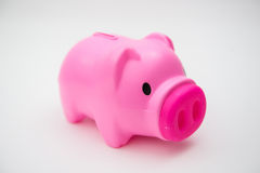 Porcellino salvadanaio rosa per i risparmi i vostri soldi Fotografie Stock