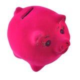 Porcellino salvadanaio rosa su un bianco Fotografie Stock Libere da Diritti
