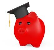 Porcellino salvadanaio rosso con il cappello di graduazione Fotografia Stock Libera da Diritti