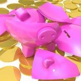 Porcellino salvadanaio rotto che mostra i pagamenti dovuti Fotografia Stock