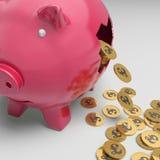 Porcellino salvadanaio rotto che mostra stato finanziario britannico Fotografie Stock Libere da Diritti