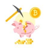 Porcellino salvadanaio rotto con i bitcoins dorati Fotografia Stock
