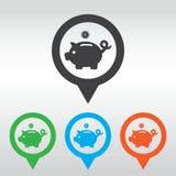 Porcellino salvadanaio - soldi di risparmio perno della mappa del icom Fotografie Stock