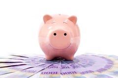 Porcellino salvadanaio sorridente con le banconote dei franchi svizzeri - Cu della Svizzera Fotografia Stock