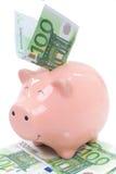 Porcellino salvadanaio sorridente con le euro fatture Immagine Stock
